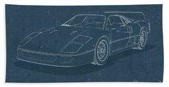 Ferrari F40 - Blueprint  Bath Towel