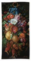 Festoon Of Fruit And Flowers, 1670 Hand Towel