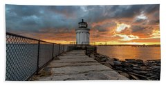 Fiery Skies At Bug Light Hand Towel