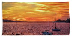 Fiery Sunrise Over Casco Bay Hand Towel