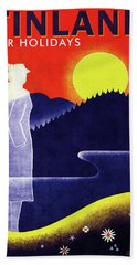 Finnish State Railways - Finland For Holidays - Retro Travel Poster - Vintage Poster Hand Towel