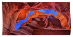 Fire Beneath The Sky In Antelope Canyon Bath Towel