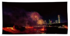 Fireworks Over The Falls. Bath Towel