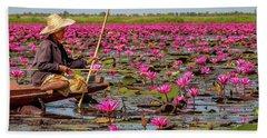 Fishing In The Red Lotus Lake Hand Towel