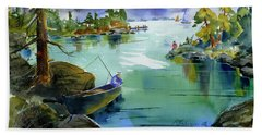 Fishing Lake Tahoe Hand Towel
