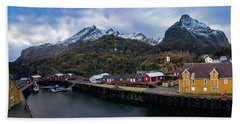 Fishing Village A On Lofoten Hand Towel