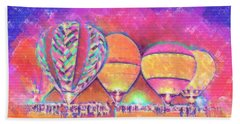 Five Glowing Hot Air Balloons In Pastel Bath Towel