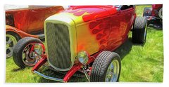 Flamed Red 1932 Ford Roadster Hand Towel