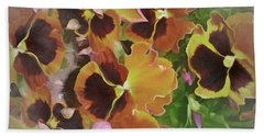 Hand Towel featuring the mixed media Flaming Pansies 9  by Lynda Lehmann