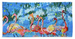 Bath Towel featuring the painting Flamingo Pat Party by Tilly Strauss