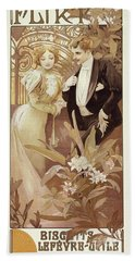 Flirt Vintage Poster By Mucha Bath Towel