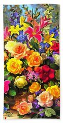 Floral Bouquet In Acrylic Hand Towel
