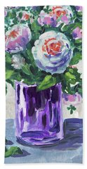 Flowers Bouquet In Purple Glass Hand Towel