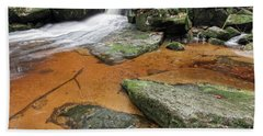 Flowing Water Through Boulders On A Forest Creek Bath Towel