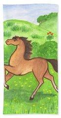 Foal In The Meadow Bath Towel