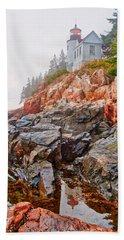 Foggy Bass Harbor Lighthouse Hand Towel