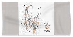 Follow Your Dreamcatcher - Boho Chic Ethnic Nursery Art Poster Print Hand Towel