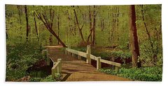 Footbridge Through The Woods Hand Towel