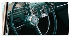 Bath Towel featuring the photograph 1955 Ford Fairlane Steering Wheel by Debi Dalio