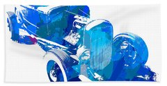 Ford Flathead Roadster Two Blue Pop Bath Towel