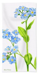 Forget-me-nots On White Bath Towel