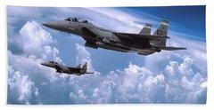 Formation Of F-15e Strike Eagles Hand Towel