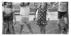 Four Girls, Jumping, 1972 Hand Towel