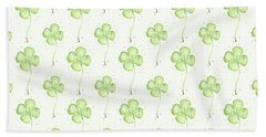 Four Leaf Clover Lucky Charm Pattern Hand Towel