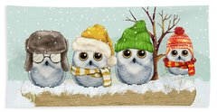 Four Winter Owls Hand Towel