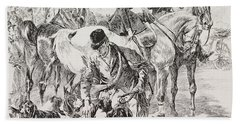 Fox Hunt Scene Hand Towel