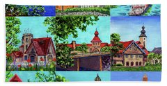 Frankenmuth Downtown Michigan Painting Collage II Bath Towel