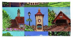 Frankenmuth Downtown Michigan Painting Collage Iv Bath Towel