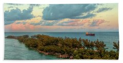 Freighter Off Paradise Island Hand Towel