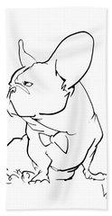 French Bulldog Gesture Sketch Bath Towel