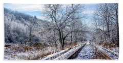 Frosty Morning On The Railroad Bath Towel