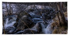 Frozen Stream In Winter Forest Hand Towel