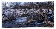 Frozen Tree In Winter River Hand Towel