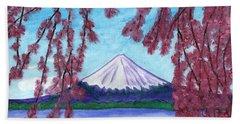 Fuji Mountain And Sakura Bath Towel