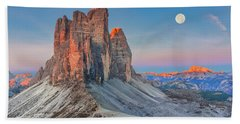 Full Moon Morning On Tre Cime Di Lavaredo Bath Towel
