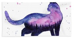 Galaxy Forest Cat Hand Towel