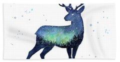 Galaxy Reindeer Silhouette Hand Towel