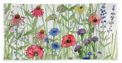 Garden Flower Medley Watercolor Bath Towel