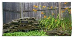 Garden Pond With Orange Day Lilies Bath Towel