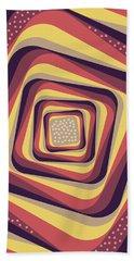 Geometric Abstract Pattern - Retro Pattern - Spiral 4 - Violet, Magenta, Yellow, Beige Bath Towel