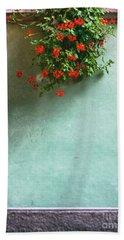 Geraniums On A Wall Bath Towel