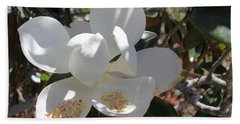 Gigantic White Magnolia Blossoms Blowing In The Wind Bath Towel