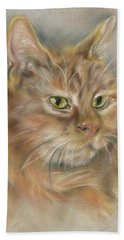 Ginger Tabby Cat With Black And White Whiskers Hand Towel