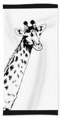 Giraffe In Black And White Bath Towel