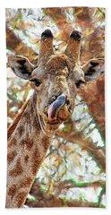 Giraffe Says Yum Hand Towel