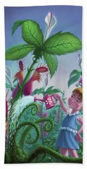 Girl Watering Horror Plants Hand Towel